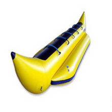 Yellow Pvc Inflatable Banana Boat With 2 Oars For Outdoor Sports